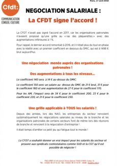 NEGOCIATION SALARIALE : LA CFDT SIGNE L'ACCORD