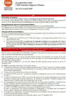 FLASH INFO CFDT CSEE - Fonctions Support et Finance des 13 et 14 mai 2020