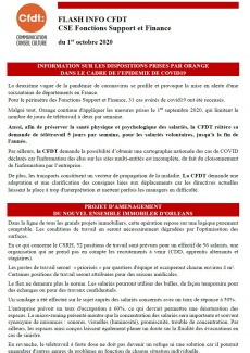 FLASH INFO CFDT CSE Fonctions Support et Finance du 1er octobre 2020